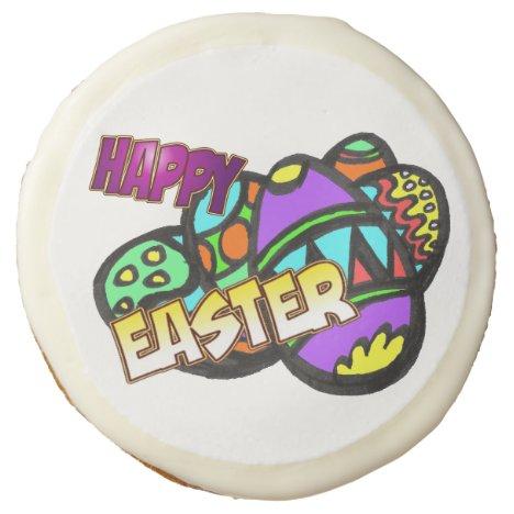 Happy Easter Eggs Sugar Cookies