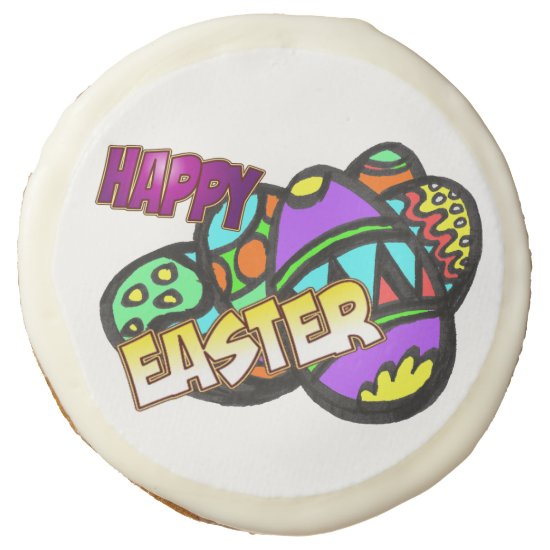Happy Easter Eggs Sugar Cookies