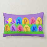Happy Easter Eggs Throw Pillow