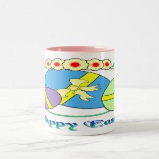 Happy Easter Eggs Two-Tone Coffee Mug