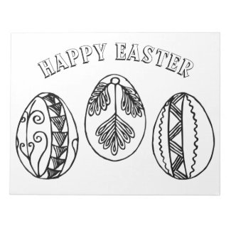 Happy Easter Fancy Easter Eggs Coloring Pages Notepad