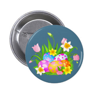 Happy Easter floral and colorful eggs Button