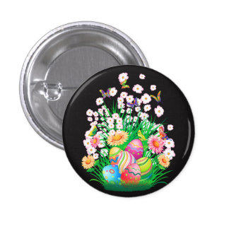 Happy Easter floral and text background Button