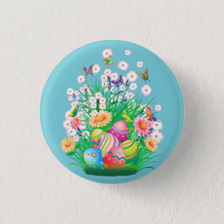 Happy Easter floral and text background Pinback Button