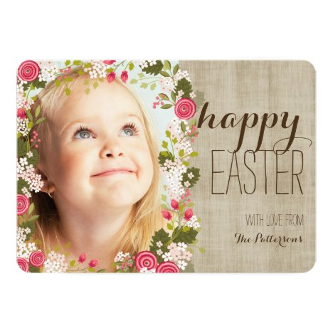 Happy Easter Floral   Linen Photo Greeting Card