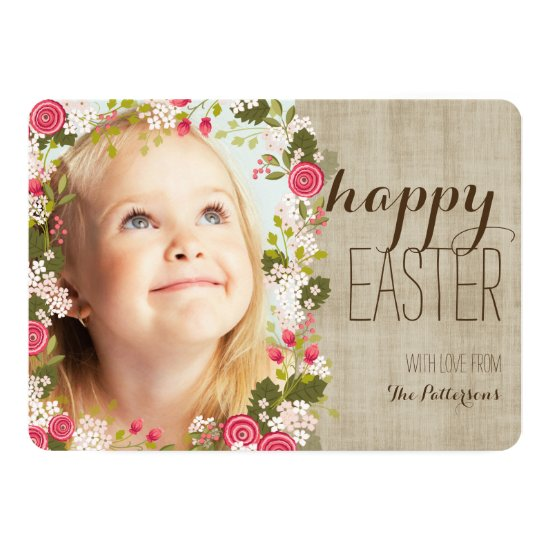 Happy Easter Floral | Linen Photo Greeting Card