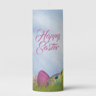Happy Easter - Floral Photography Easter Eggs Pillar Candle