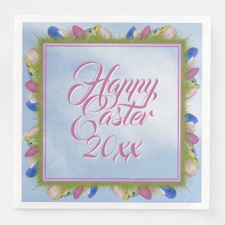 Happy Easter - Floral Photography Easter Eggs (SQ) Paper Dinner Napkin