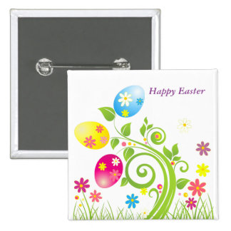 Happy Easter floral tree Button