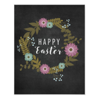Happy Easter! - Floral with Blackboard Poster