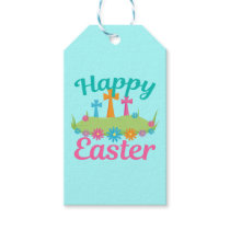 Happy Easter Flowers and Crosses Gift Tags