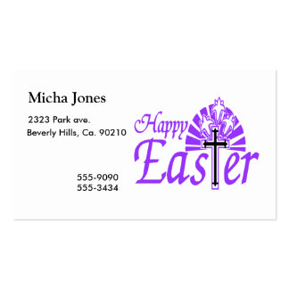 Happy Easter Flowers & Cross Business Card