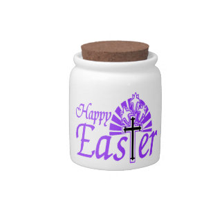 Happy Easter Flowers & Cross Candy Dishes