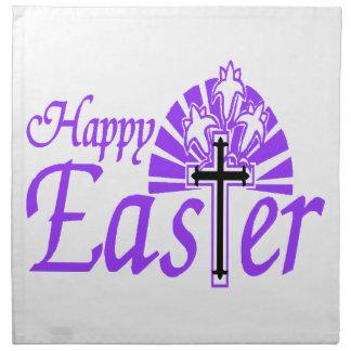 Happy Easter Flowers & Cross Cloth Napkin