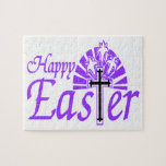 Happy Easter Flowers & Cross Jigsaw Puzzle