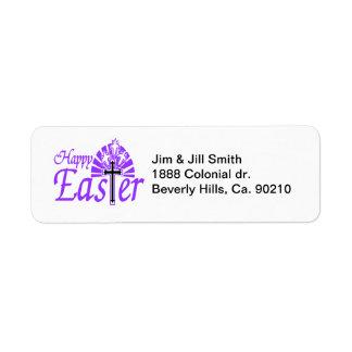 Happy Easter Flowers & Cross Label