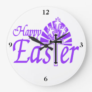 Happy Easter Flowers & Cross Large Clock