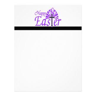 Happy Easter Flowers & Cross Letterhead