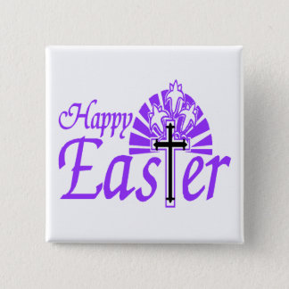 Happy Easter Flowers & Cross Pinback Button