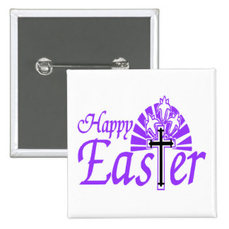 Happy Easter Flowers & Cross Pinback Button
