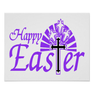 Happy Easter Flowers & Cross Poster