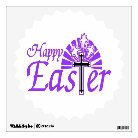 Happy Easter Flowers & Cross Wall Sticker