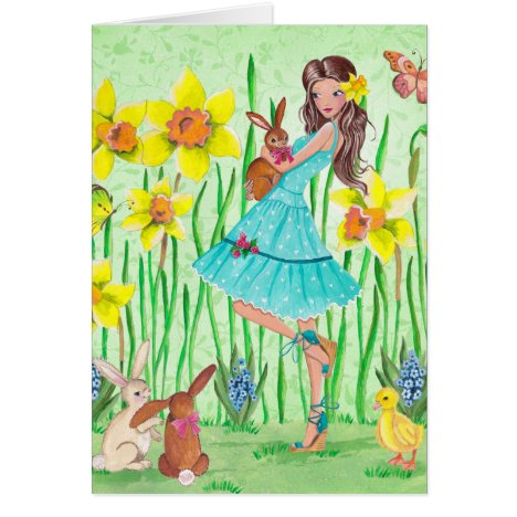 Happy Easter Flowers Girl | Easter Card