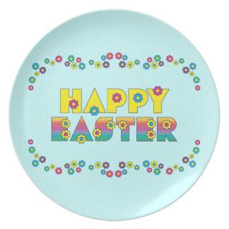 Happy Easter Flowers Dinner Plate