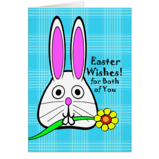Happy Easter for Couple, Cute Bunny with Flower Card
