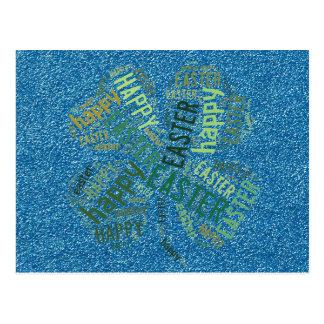 Happy Easter Four-Leaf Clover Glitter Blue Green Postcard