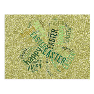 Happy Easter Four-Leaf Clover Glitter Gold Green Postcard