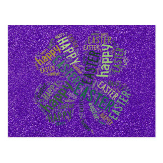Happy Easter Four-Leaf Clover Glitter Purple Green Postcard