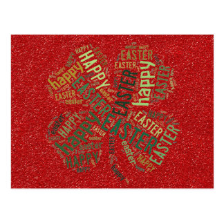 Happy Easter Four-Leaf Clover Glitter Red Green Postcard