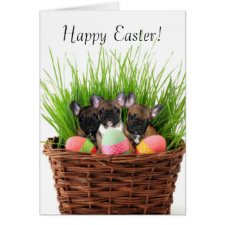 Happy Easter French bulldog puppies greeting card