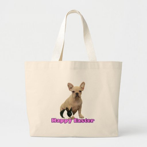 Happy Easter French bulldog tote bag