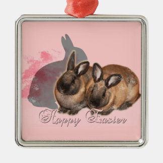 Happy Easter from 2 Easter Bunnies Metal Ornament