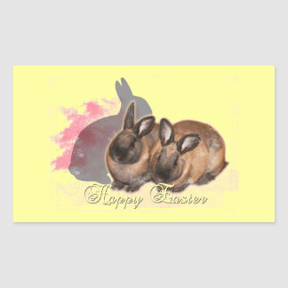 Happy Easter from 2 Easter Bunnies Rectangular Stickers