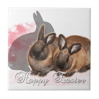 Happy Easter from 2 Easter Bunnies Tile