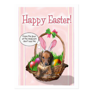 Happy Easter from a Doxie pup Postcard