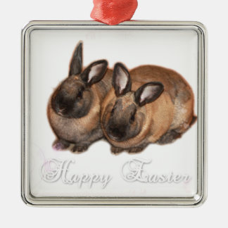 Happy Easter from The Easter Bunny With Roses Metal Ornament