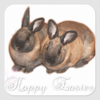 Happy Easter from The Easter Bunny With Roses Square Sticker