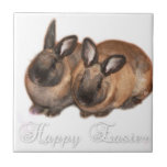 Happy Easter from The Easter Bunny With Roses Tile