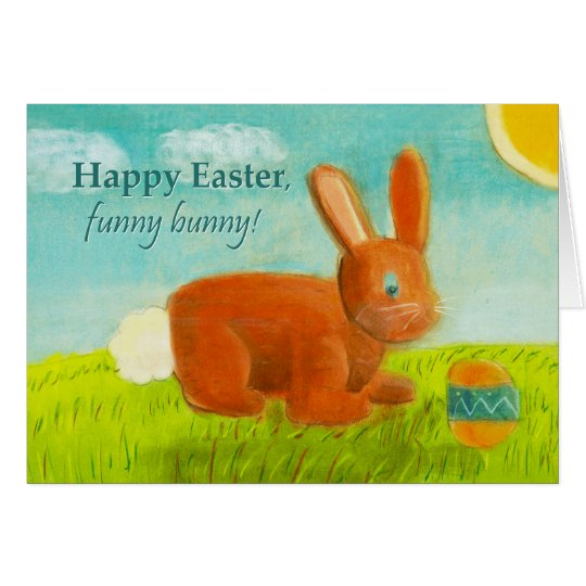 Happy Easter Funny Bunny Egg Meadow Spring Flower Card