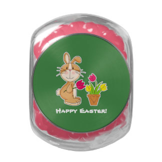 Happy Easter. Funny Easter Bunny Candy Jelly Belly Candy Jar
