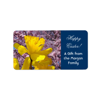 Happy Easter gift Labels stickers Daffodils From