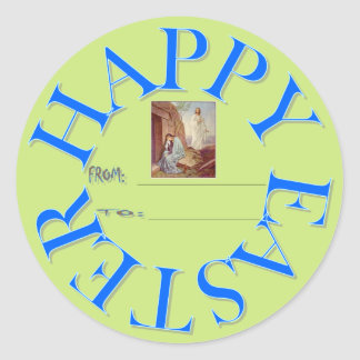 HAPPY EASTER GIFT TAG CLASSIC ROUND STICKER