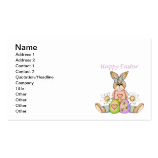 Happy Easter girl bunny Business Card