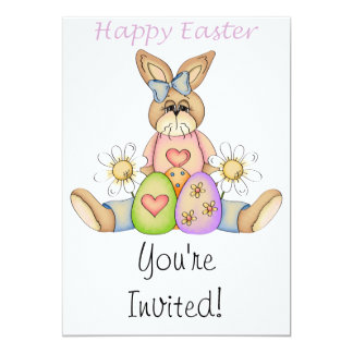 Happy Easter girl bunny Announcements