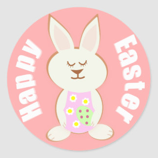 Happy Easter Girl Bunny Stickers