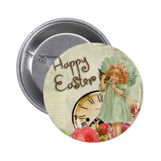 happy easter girl pinback button
